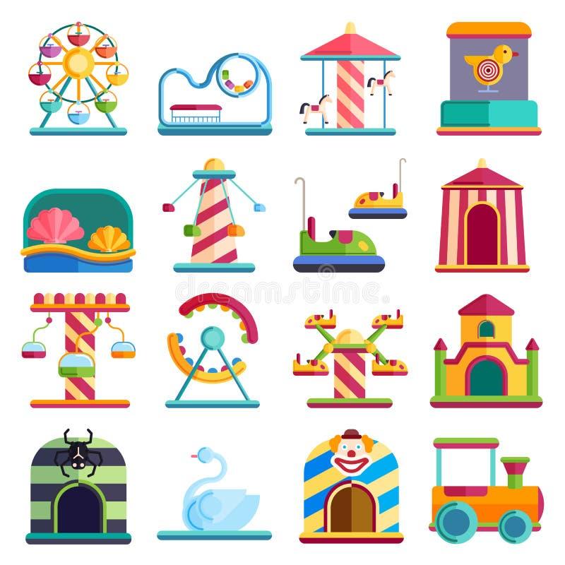 Los elementos conceptuales de la ciudad del diseño plano con el parque de atracciones de los carruseles vector el ejemplo stock de ilustración