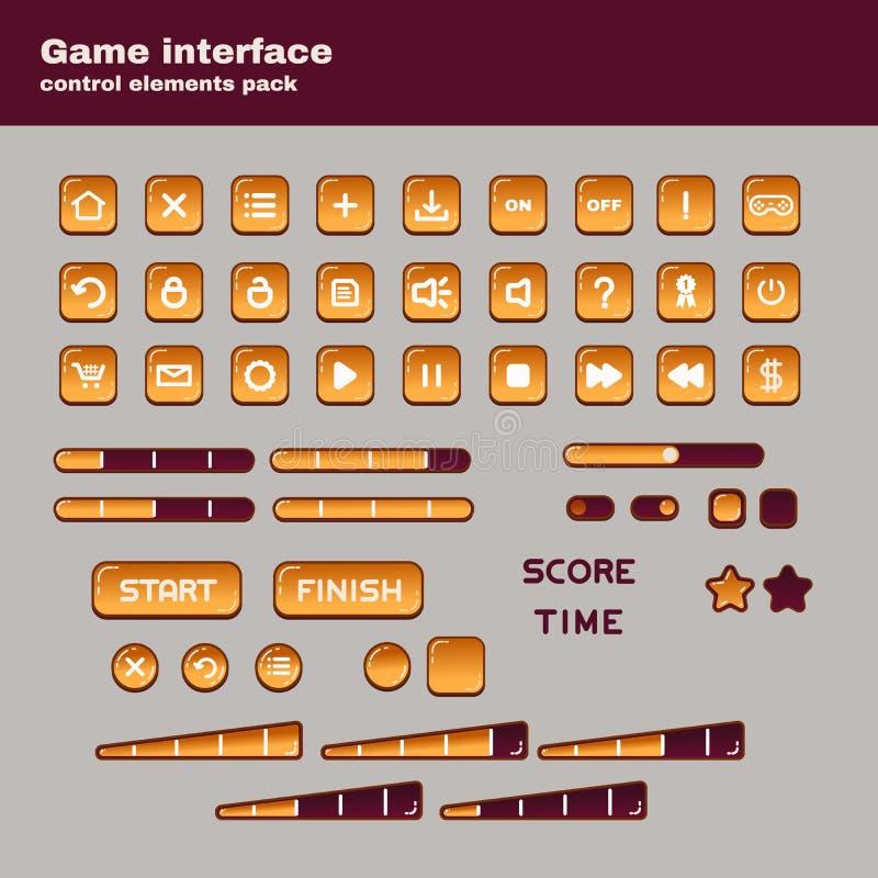 Los elementos de control de la interfaz de usuario del juego embalan para los juegos móviles ilustración del vector