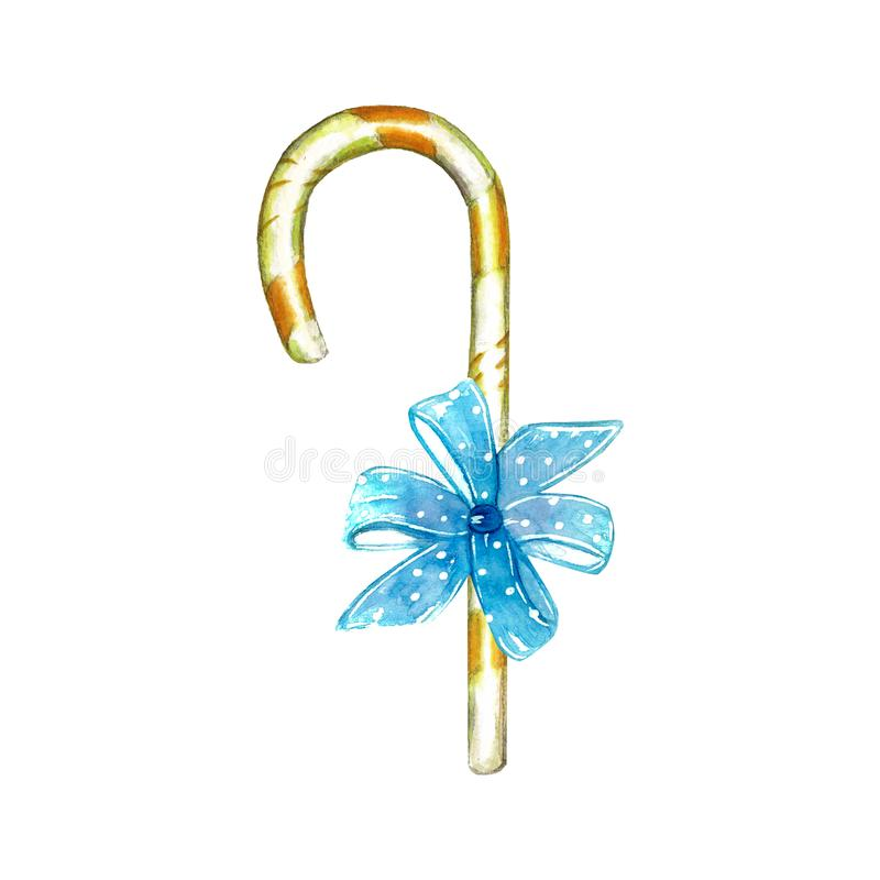 Los elementos de los dulces hicieron del palillo amarillo del lechón de la piruleta del remolino con un arco ilustración del vector
