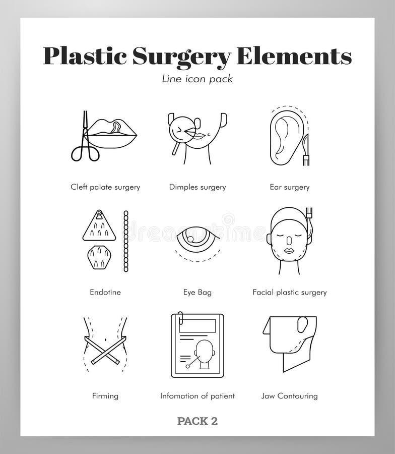 Los elementos de la cirugía plástica alinean el paquete stock de ilustración