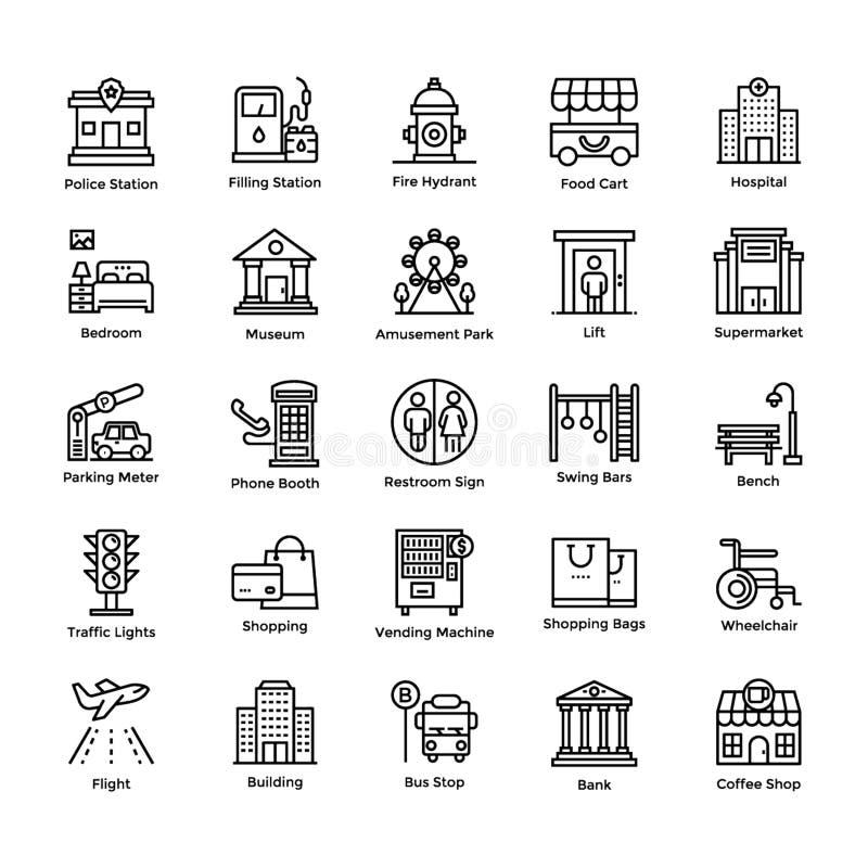 Los elementos de la ciudad alinean iconos embalan stock de ilustración