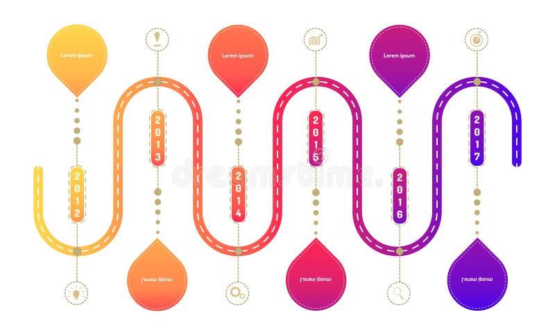 Los elementos de la cronolog?a del mapa itinerario de la carretera del lado del anillo con el gr?fico del markpoint piensan icono libre illustration