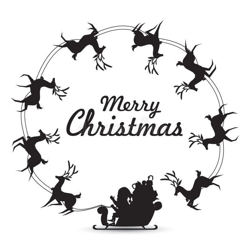 Los elementos de la guirnalda con el trineo del reno de los paseos de Santa Claus que hace girar alrededor hacen el marco para el stock de ilustración