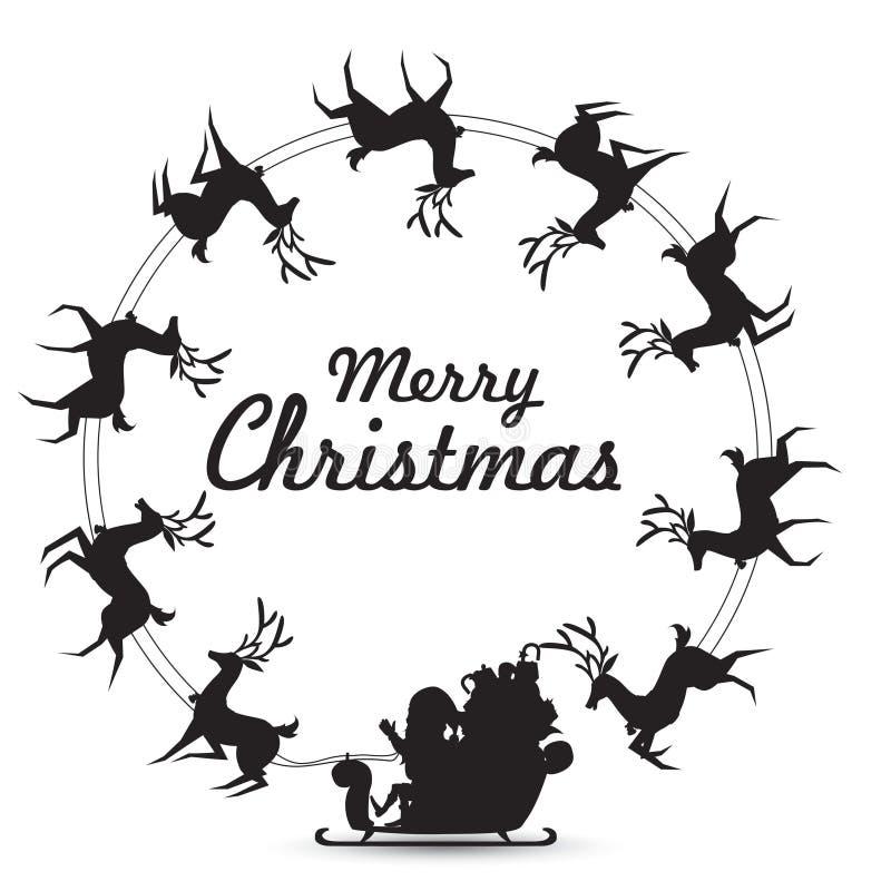 Los elementos de la guirnalda de la Navidad con el trineo del reno de los paseos de Santa Claus que hace girar alrededor hacen el libre illustration