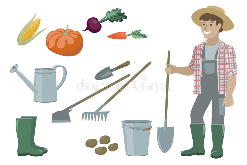 Los elementos de los artículos del inventario del jardín de la granja, el hombre del granjero y las verduras determinados cosecha stock de ilustración