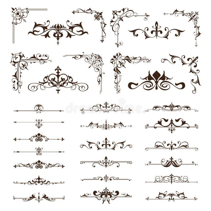 Los elementos del diseño del vintage del vector confinan esquinas de los ornamentos de los marcos stock de ilustración