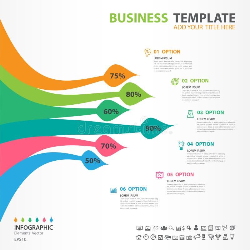 Los elementos del infographics de S diagram con 6 pasos, opciones, icono del cepillo, diseño web, presentación, ejemplo del vecto stock de ilustración