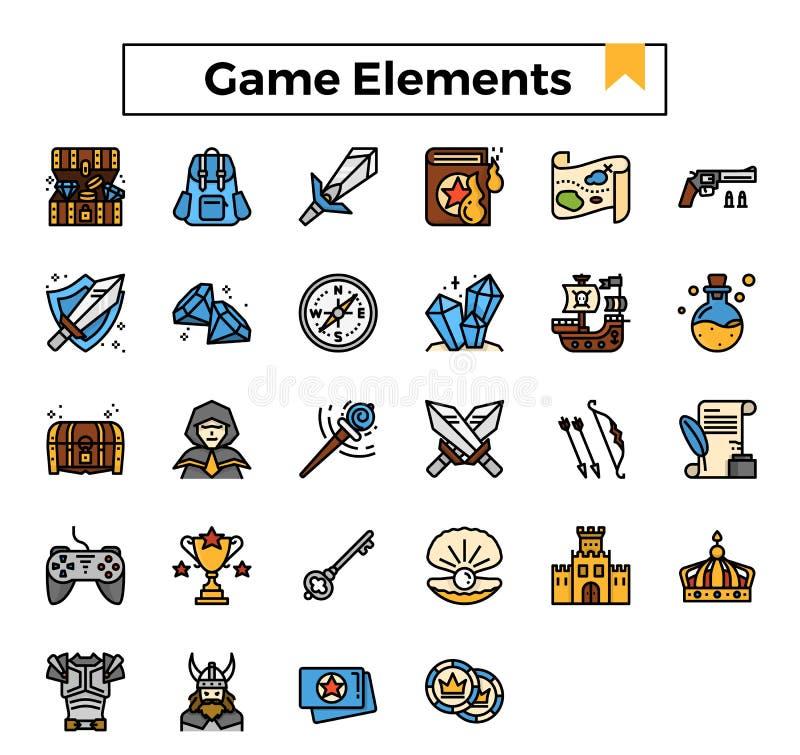 Los elementos del juego llenaron el sistema del icono del diseño del esquema stock de ilustración