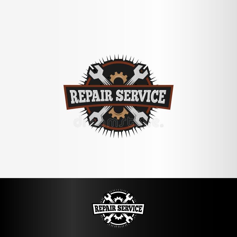 los elementos del logotipo, de las llaves y de engranajes del servicio de reparación, las herramientas mecánicas vector el ejempl libre illustration