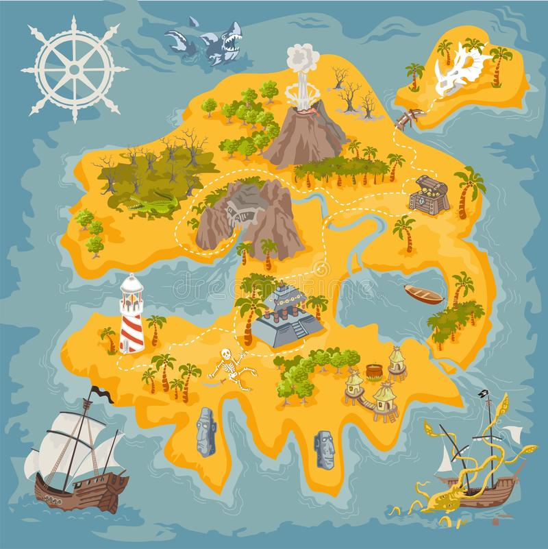 Los elementos del mapa del vector de la fantasía piratean la isla en el ejemplo colorido y dan el drenaje del reino del misterio libre illustration