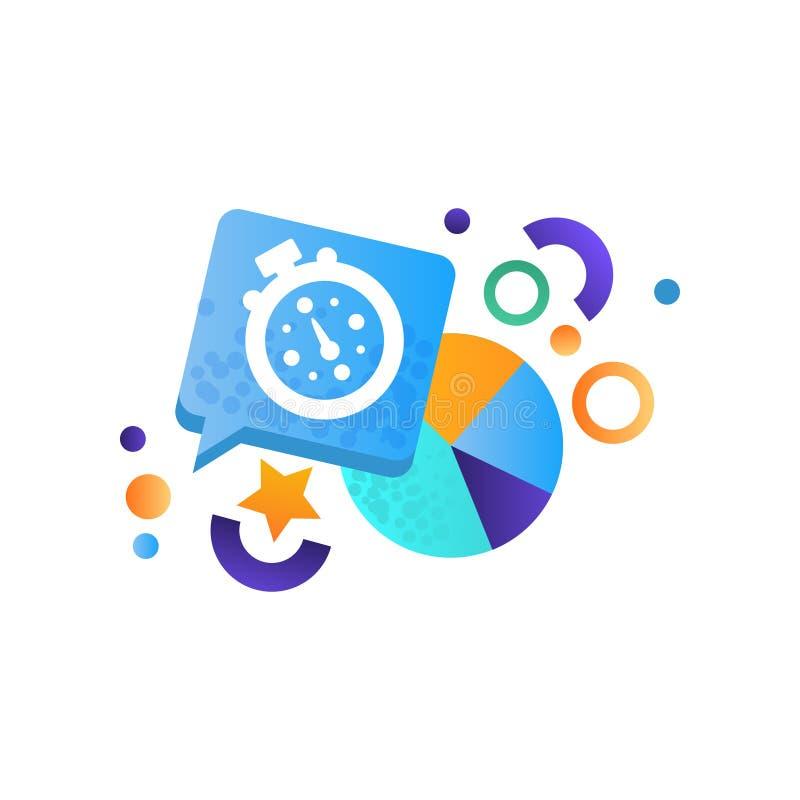 Los elementos del negocio, el cronómetro y el diagrama, gestión, finanzas, estrategia, los símbolos de comercialización vector el libre illustration