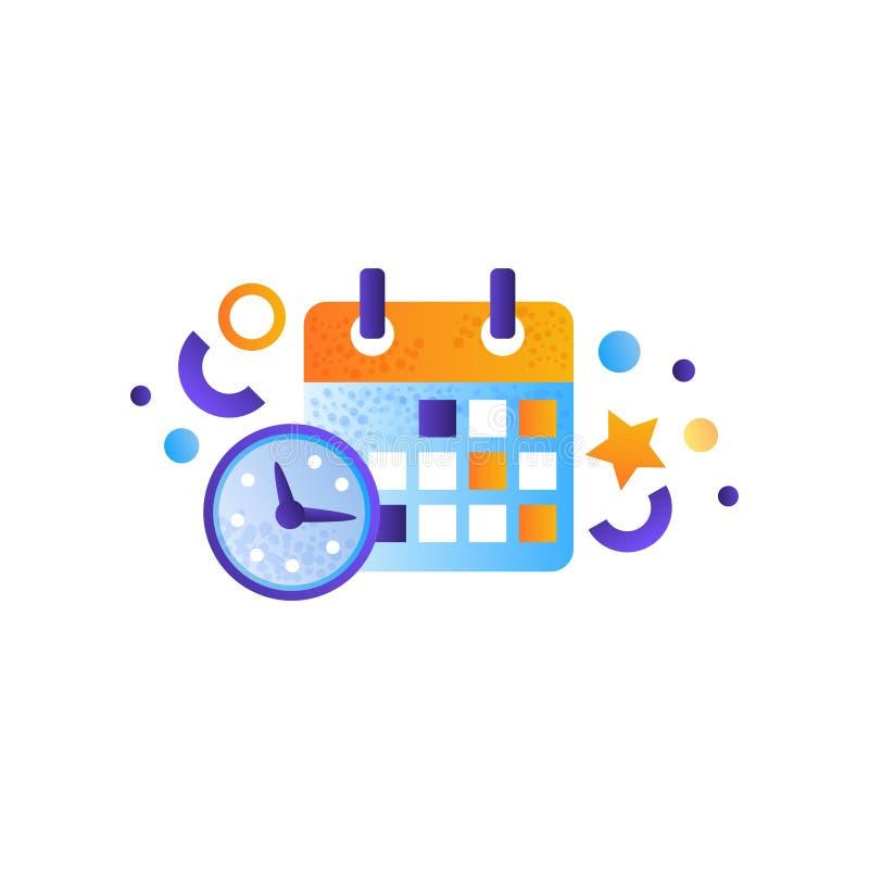 Los elementos del negocio, horario, gestión, finanzas, estrategia, los símbolos de comercialización vector el ejemplo en un fondo libre illustration