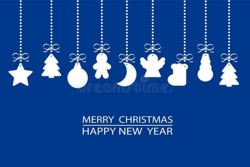 Los elementos del ornamento de la Navidad marcan la ejecución con etiqueta en el fondo azul, s ilustración del vector