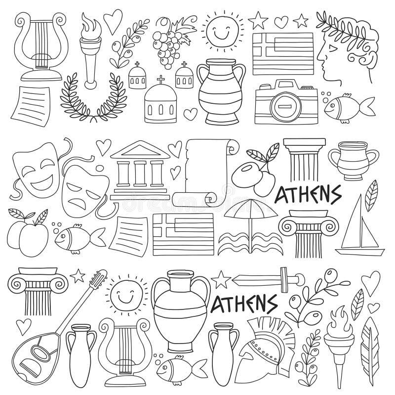 Los Elementos Del Vector De Grecia Antigua En El Estilo Del Garabato ...
