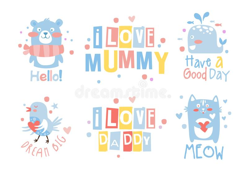 Los elementos dibujados mano linda de la decoración con las letras citan, las plantillas para la fiesta de bienvenida al bebé, ni ilustración del vector