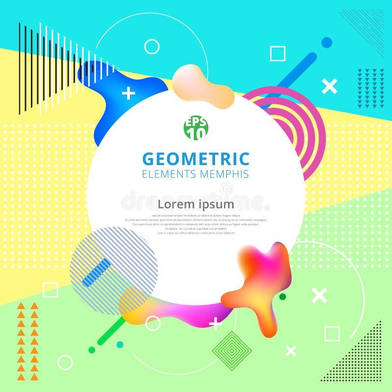 Los elementos geométricos abstractos Memphis diseñan de moda Diseño moderno ilustración del vector
