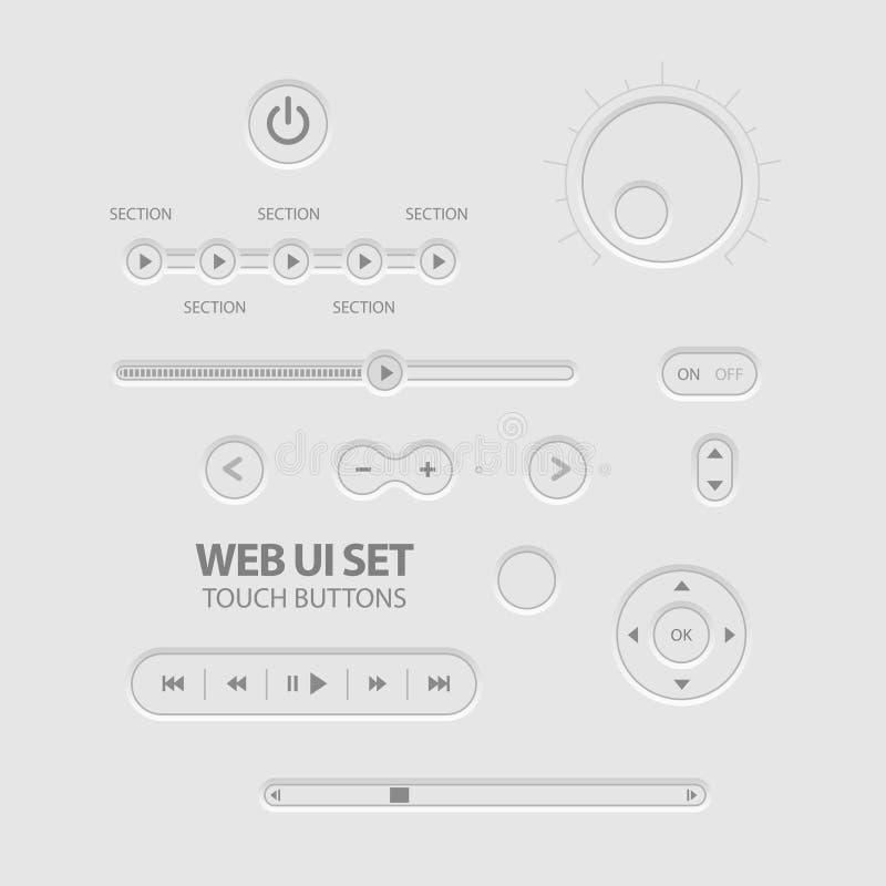 Los elementos ligeros del Web UI diseñan gris. ilustración del vector