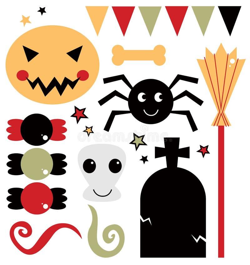 Los elementos lindos del diseño para Halloween aislaron en blanco libre illustration