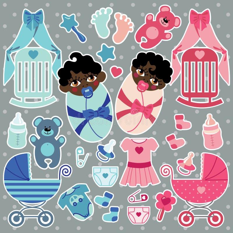 Los elementos para el bebé del mulato hermanan el muchacho y a la muchacha stock de ilustración