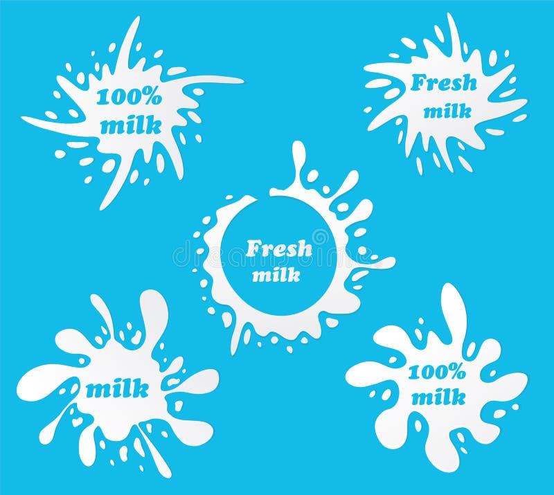 Los emblemas de la leche y las etiquetas de la lechería con salpican y borran Vector MI stock de ilustración