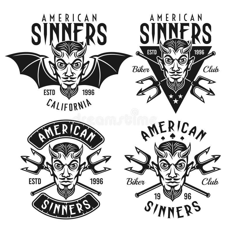 Los emblemas del vector del club del motorista con el diablo de cuernos dirigen libre illustration
