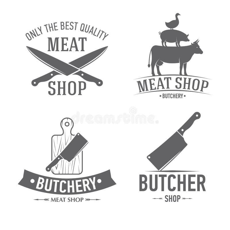 Los emblemas fijaron la carnicería ilustración del vector