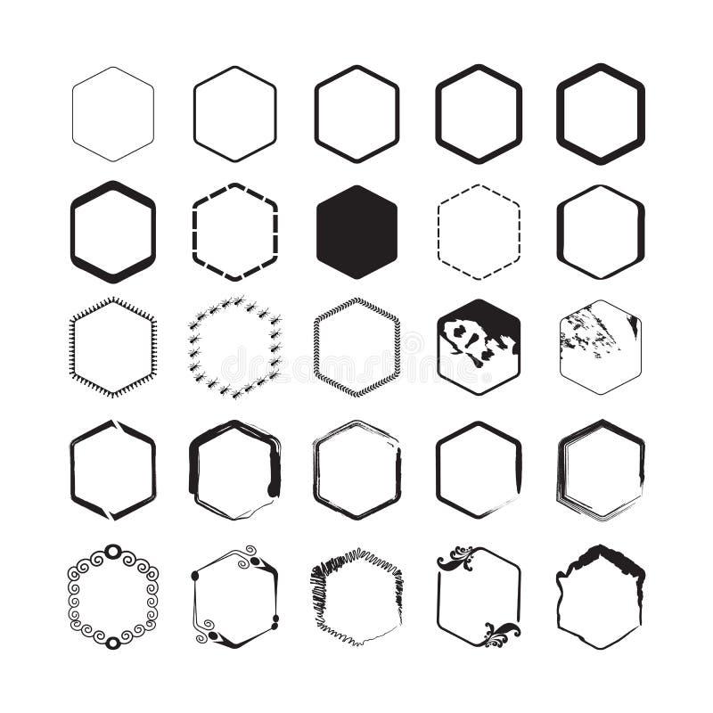 Los emblemas negros de la frontera del hexágono fijaron en el fondo blanco libre illustration