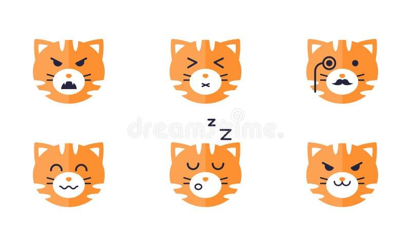Los emojis del tigre fijaron, emoticon lindo de la cara del tigre con el diverso ejemplo del vector de las emociones en un fondo  libre illustration