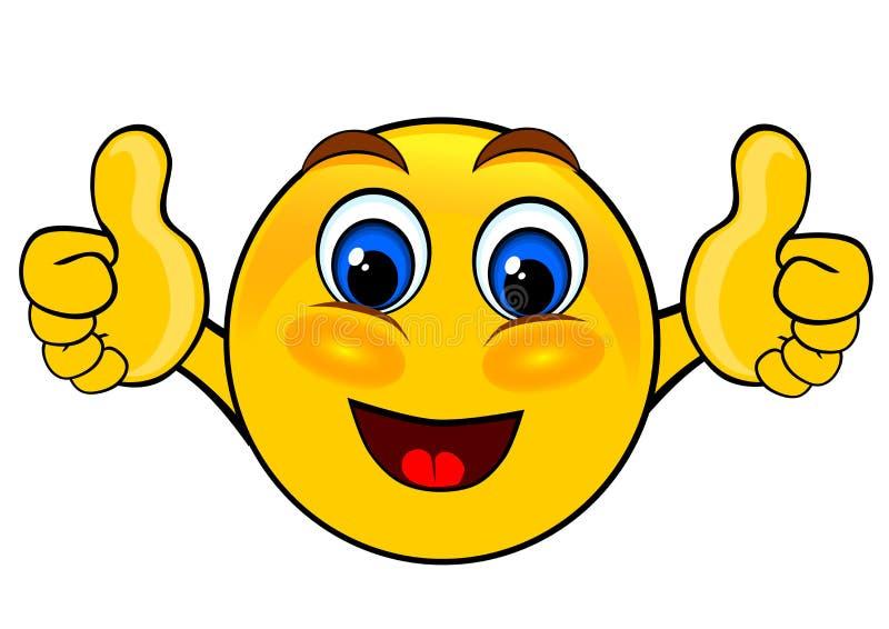 Los emoticons de la sonrisa manosean con los dedos para arriba stock de ilustración