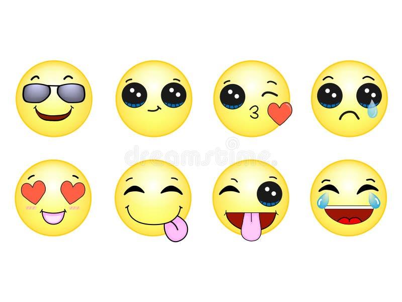 Los Emoticons de los smiley fijaron el gelb imagen de archivo