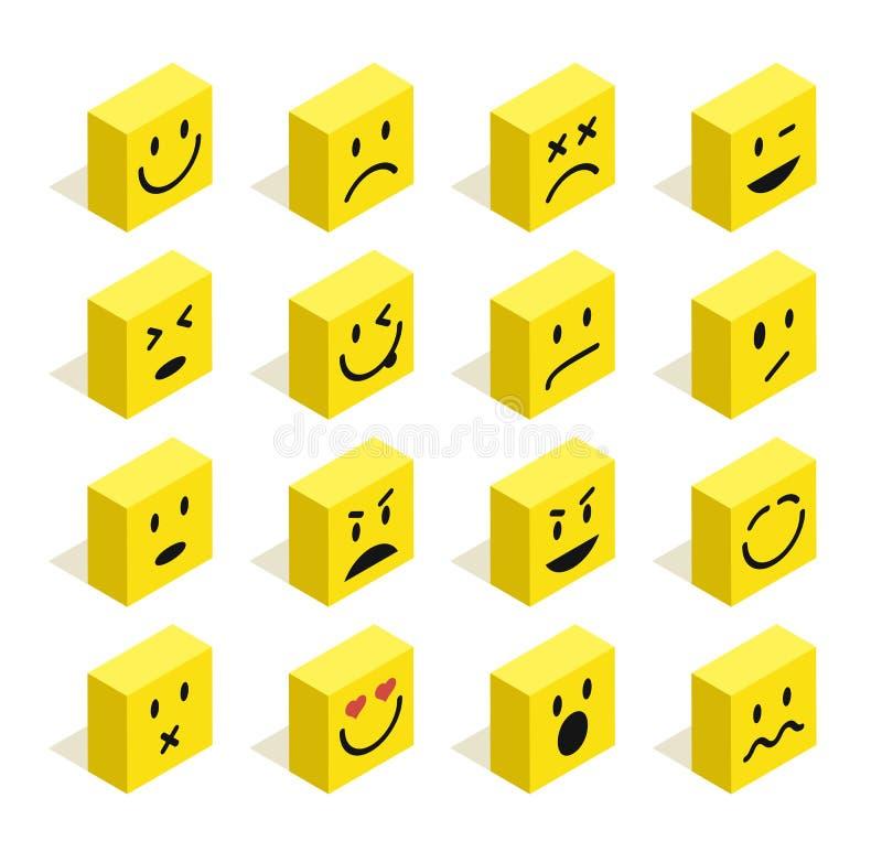 Los Emoticons isométricos planos fijaron el ejemplo libre illustration