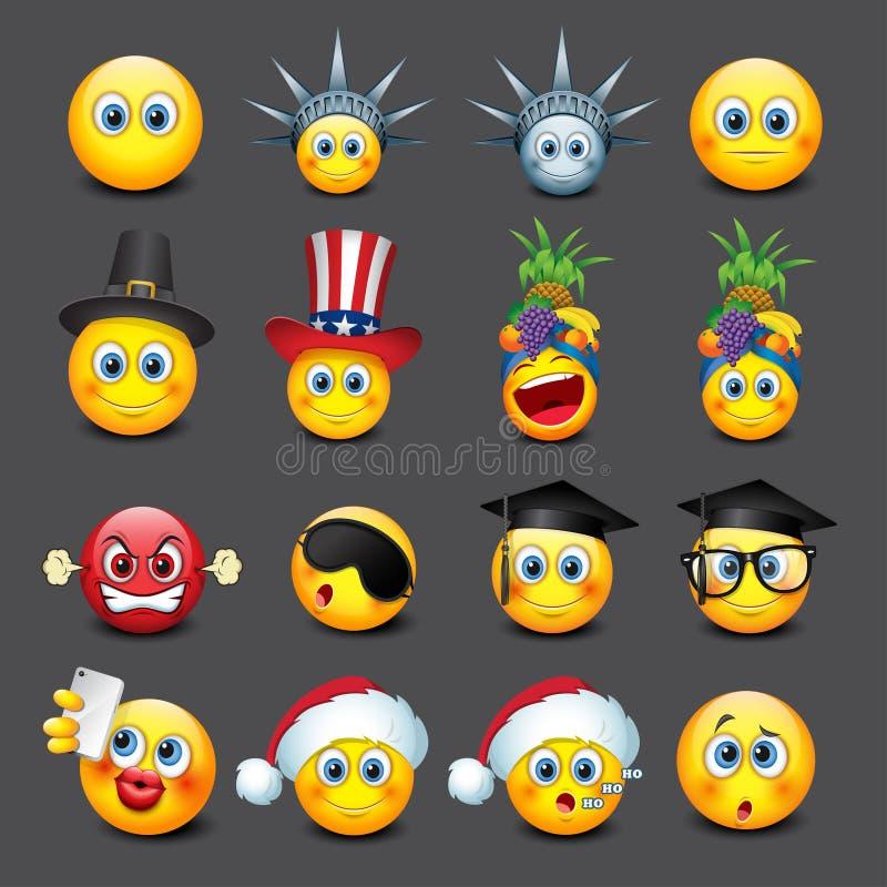Los emoticons lindos fijaron, emoji - smiley - vector el ejemplo ilustración del vector