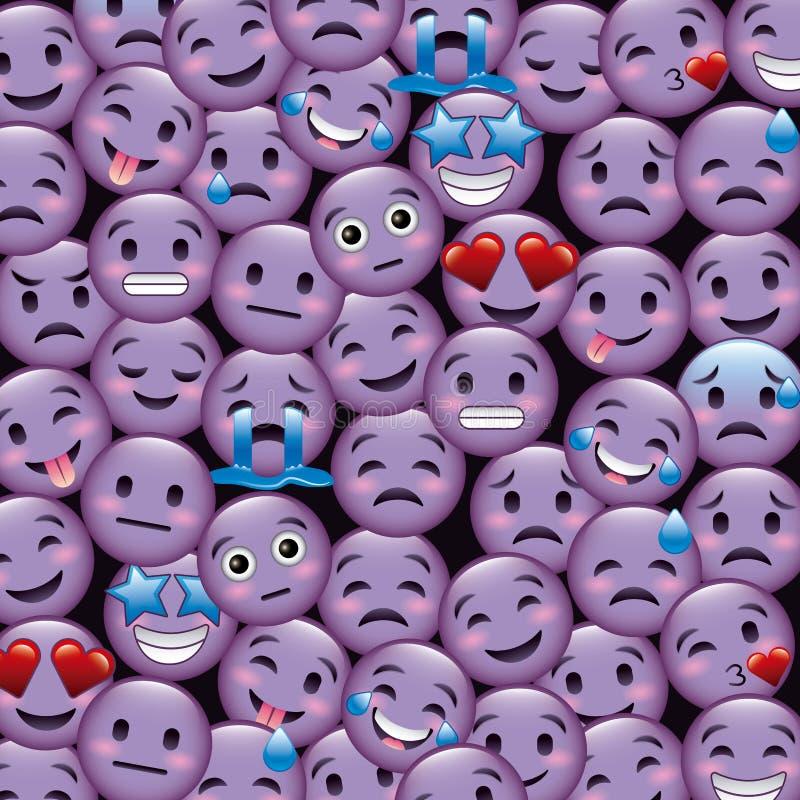 Los emoticons púrpuras de la sonrisa wallpaper la sonrisa triste del grito feliz enojada stock de ilustración