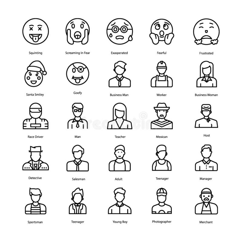 Los Emoticons y los avatares alinean iconos embalan stock de ilustración