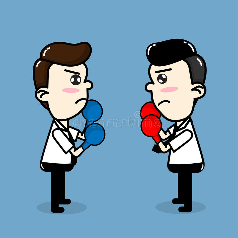 Los empleados compiten, historieta del vector del boxeo del hombre de negocios que lucha libre illustration