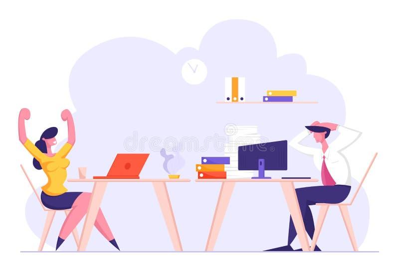 Los empleados de oficina en el lugar de trabajo, mujer disfrutan el trabajo del acabamiento, carácter masculino sobrecargado del  ilustración del vector