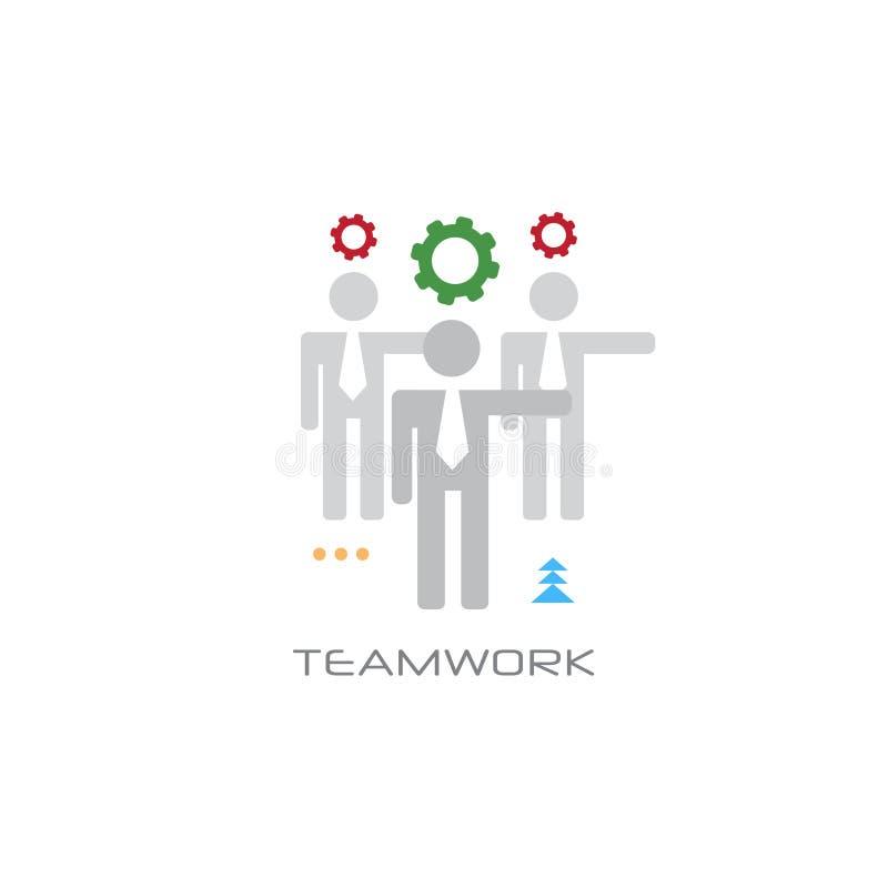 Los empresarios acertados del concepto del proceso del trabajo en equipo combinan trabajando juntos la línea estilo de la colabor stock de ilustración