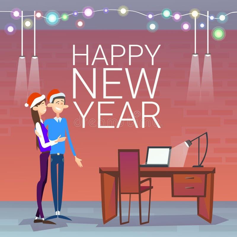 Los empresarios celebran el desgaste Santa Hat de los pares de la Feliz Navidad y de la Feliz Año Nuevo ilustración del vector