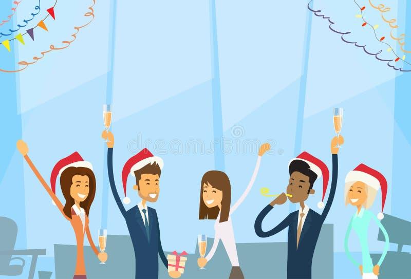 Los empresarios celebran Feliz Navidad y felices ilustración del vector