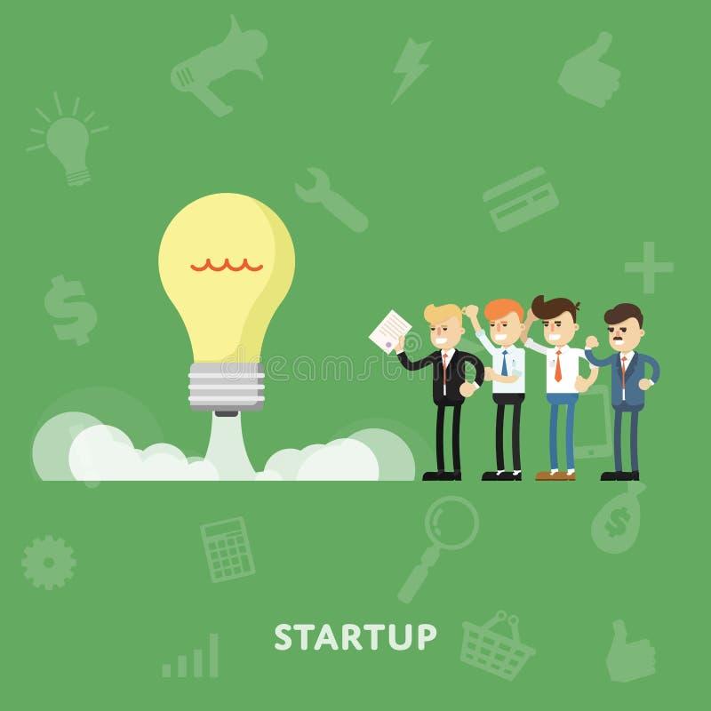 Los empresarios mantienen concepto de lanzamiento de lanzamiento stock de ilustración
