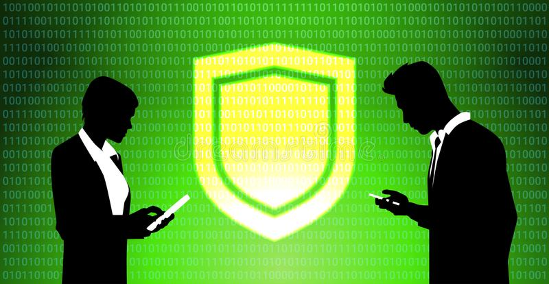 Los empresarios siluetean el fondo virtual de trabajo de la privacidad de datos del panel GDPR del escudo protección de la red de ilustración del vector