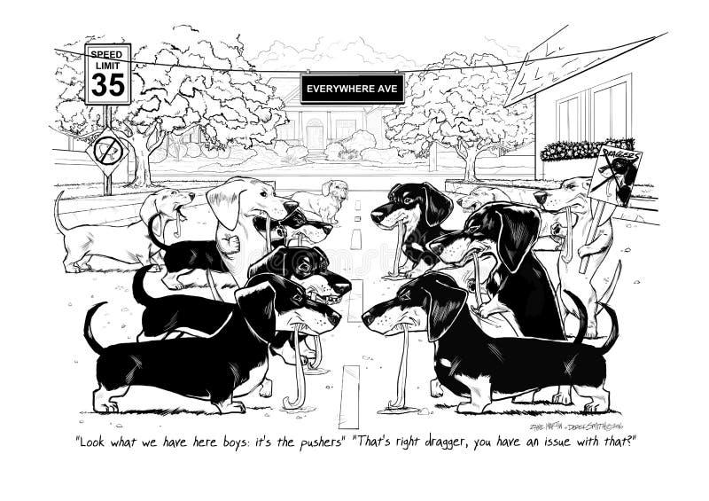 Los empujadores y el pilar de Draggers stock de ilustración