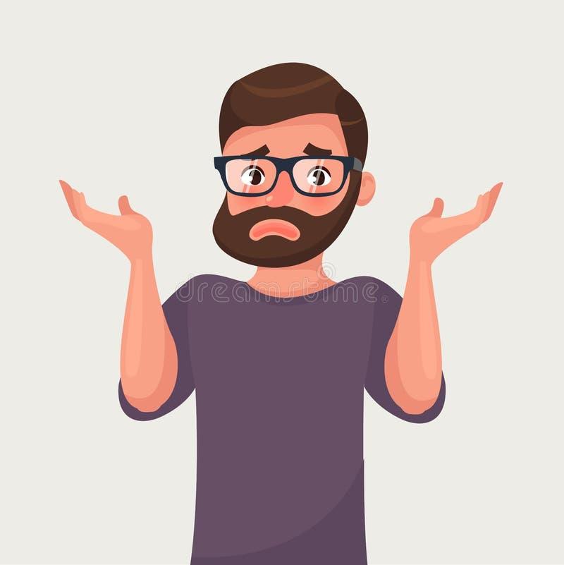 Los encogimientos de hombros y las extensiones del hombre sus manos Ejemplo del vector en estilo de la historieta libre illustration