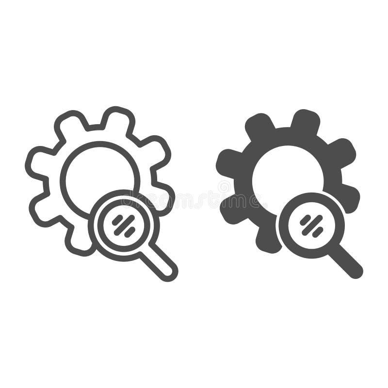 Los engranajes de la búsqueda alinean y el icono del glyph Lupa y ejemplo del vector del desarrollo aislado en blanco Esquema de  libre illustration