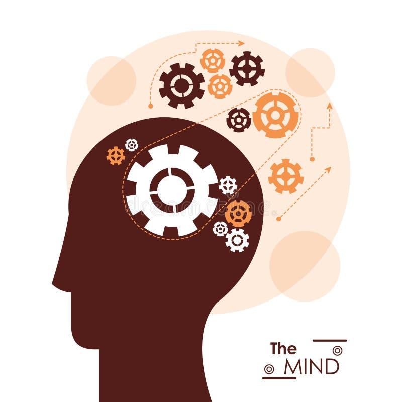 Los engranajes del perfil de la cabeza de la mente combinan el trabajo mecánico ilustración del vector