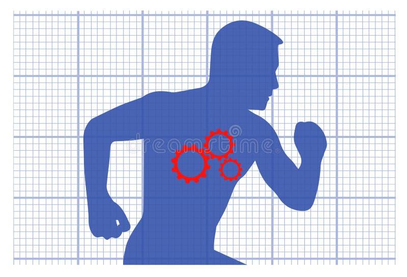 Los engranajes en un organismo simbolizan salud como el mecanismo eliminado errores ilustración del vector