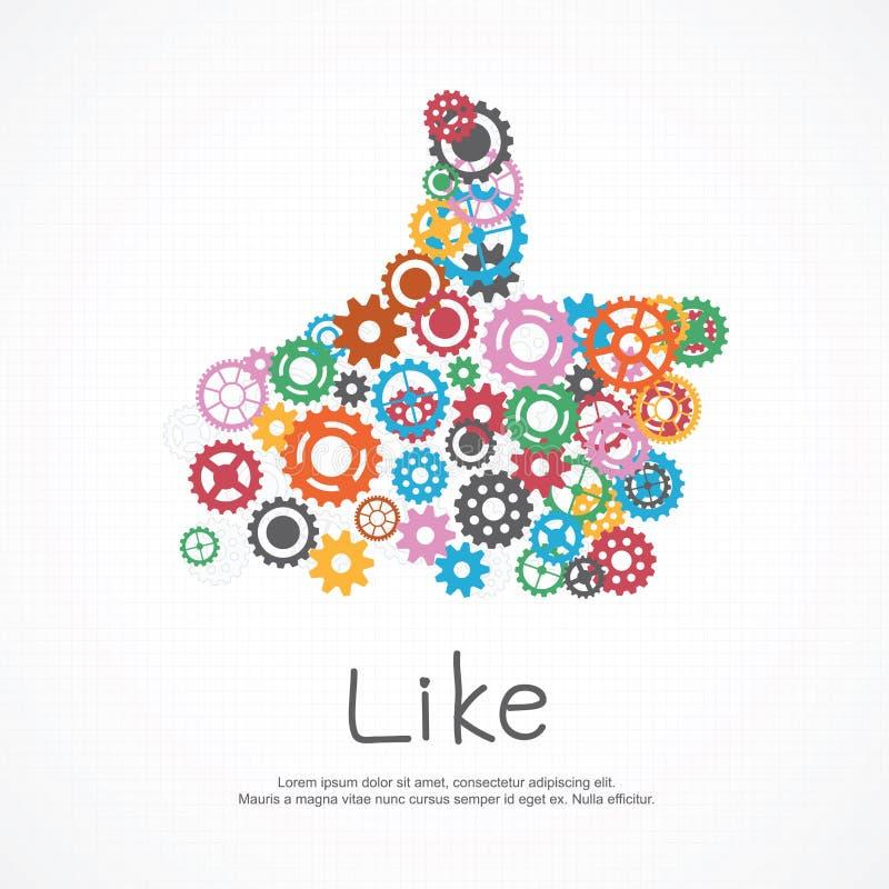 Los engranajes les gusta el símbolo para los medios sociales stock de ilustración