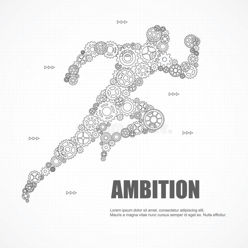 Los engranajes sirven el funcionamiento con la ambición para el éxito ilustración del vector