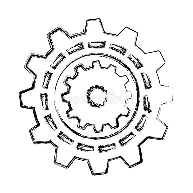 Los engranajes trabajan a máquina el icono aislado ilustración del vector
