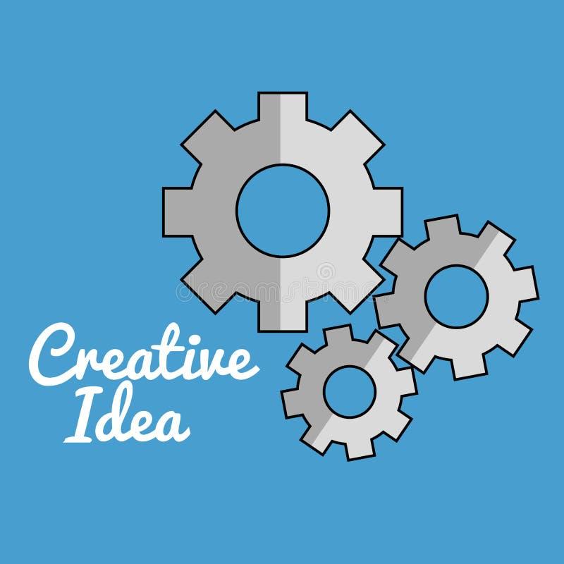 Los engranajes trabajan a máquina ideas creativas stock de ilustración